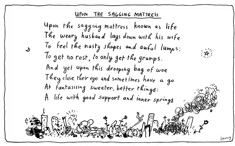 upon the sagging mattress